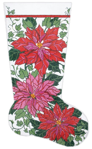 NEEDLEPOINT HANDPAINTED Canvas LEE Christmas STOCKING Poinsettia and Ivy 13M