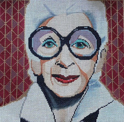 NEEDLEPOINT Handpainted IRIS APFEL Tess Thorn Alexander MORE IS MORE 11x11