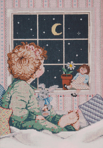 NEEDLEPOINT HANDPAINTED Canvas Sandra Gilmore AMELIA Girl Child 9.5 x 14