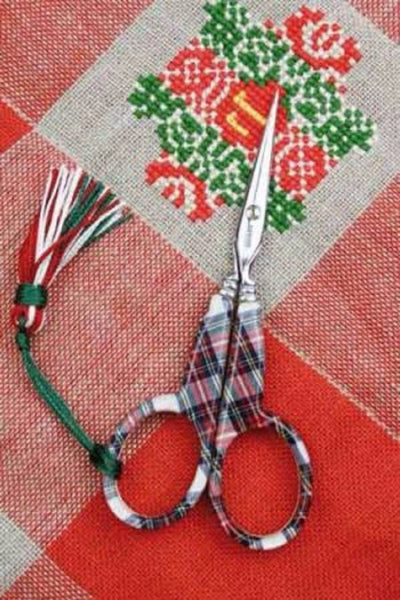 "Sajou Embroidery Scissors Tartan Plaid 4 1/4"" w/ Box"