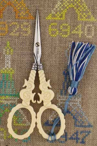 Embroidery SCISSORS Sajou S Motif Mother of Pearl IVORY 4-1/2""