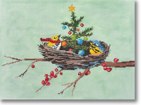 NEEDLEPOINT Handpainted CHRISTMAS Scott Church CHRISTMAS in the NEST