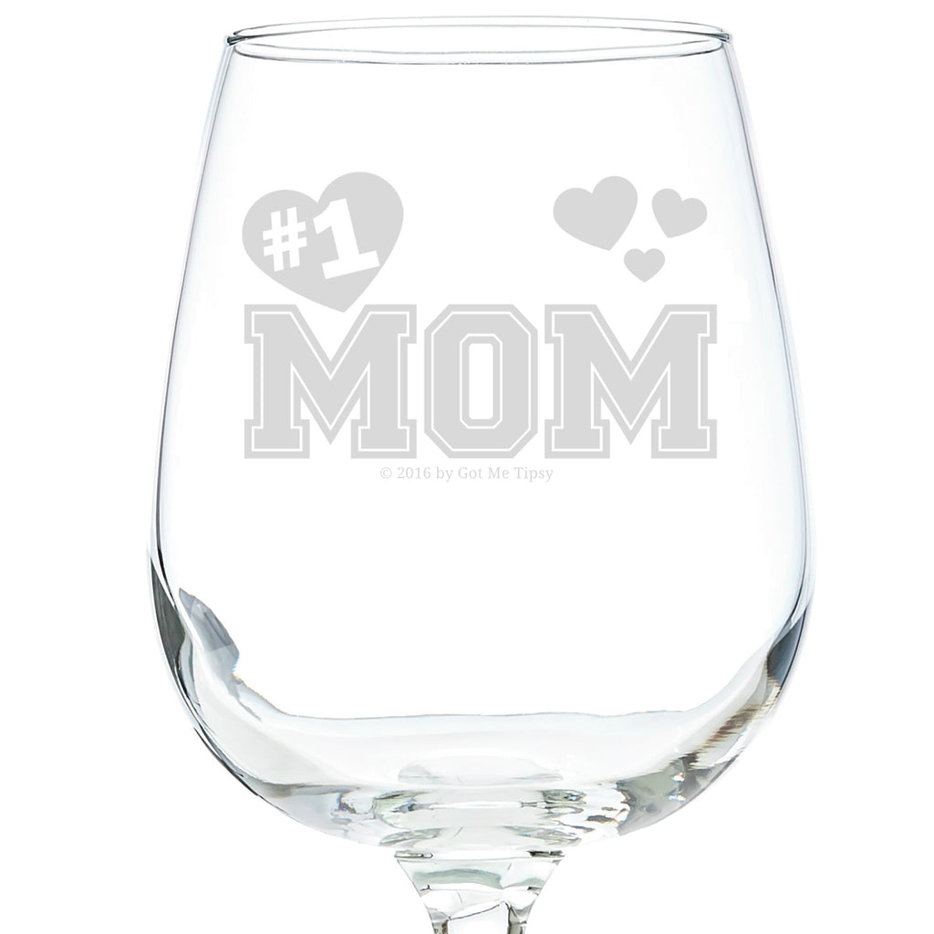 #1 Mom Wine Glass