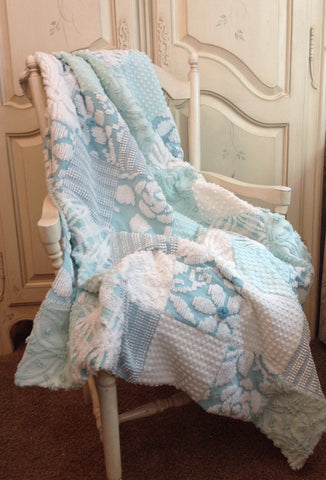 "Shabby Chic Vintage Chenille Quilt ""The Princess Grace"""