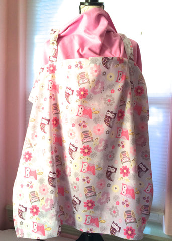 Nursing Cover - Pink & Grey Owls