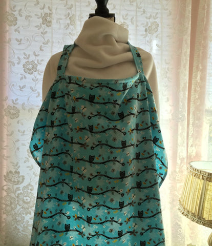 Nursing Cover - Owls on Blue