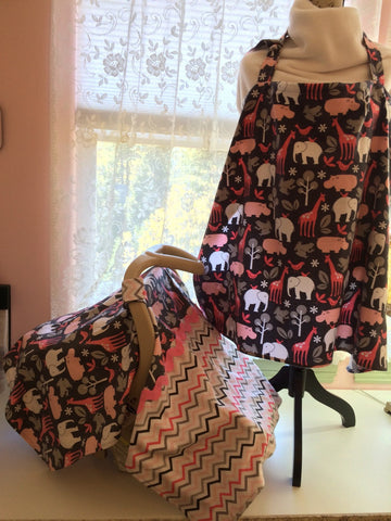Matching Set - Infant Car Seat Cover & Nursing Cover