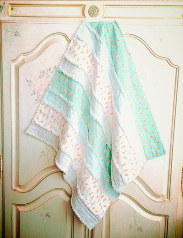 Baby Boy Quilt - Little Foxes Rag Quilt