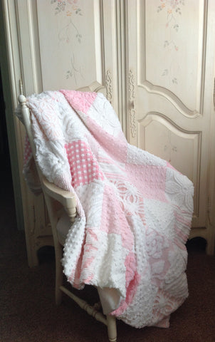 "Shabby Chic Vintage Chenille Quilt ""The Princess Diana"""