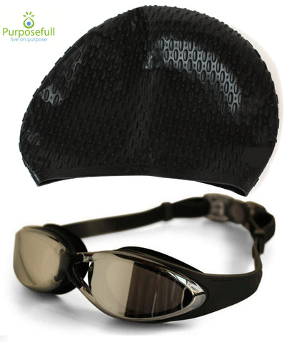 Purposefull Pro Swim Cap and Goggles - Professional Swim Accessories - Protect Hair and Eyes When Swimming - Comfortable Swimwear