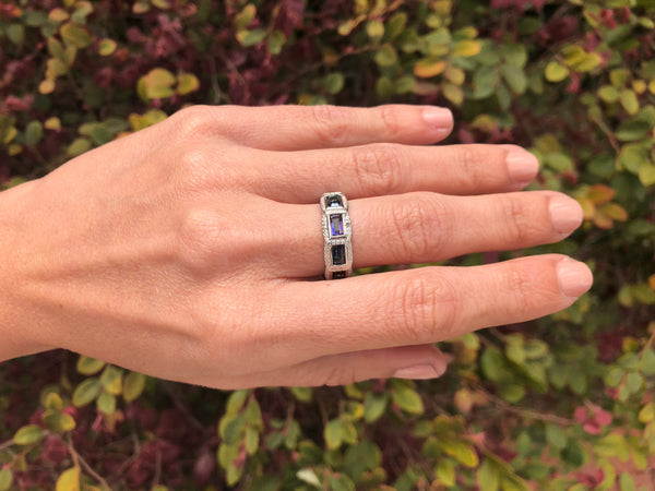 925 Sterling Silver 1.36 Carat Blue Mystic Gemstone & Genuine Diamond Ring