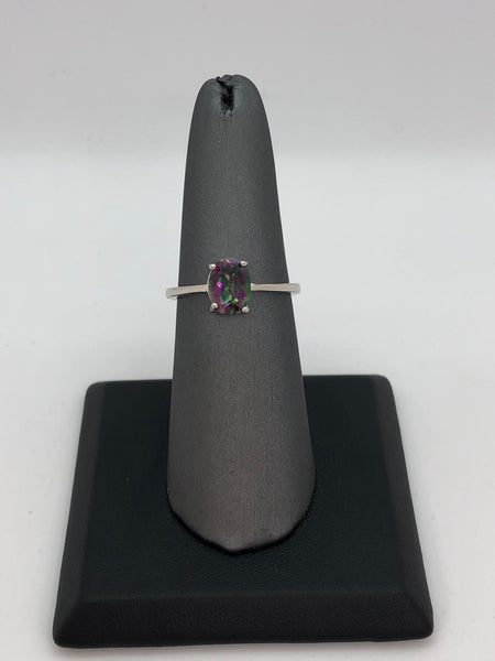 925 Sterling Silver 1 Carat Mystic & Diamond Ring