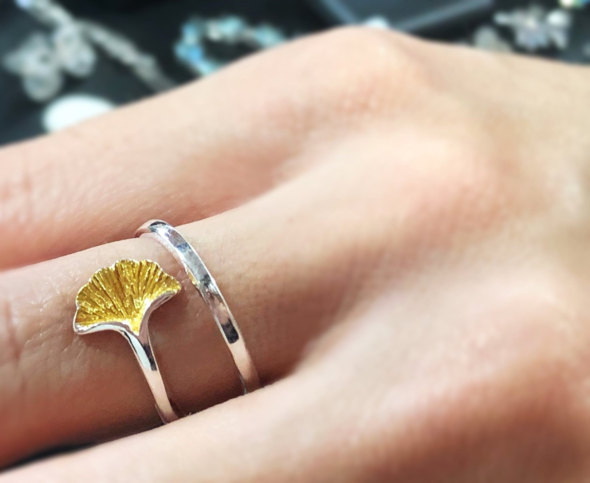 925 Sterling Silver Ginkgo Leaf Ring