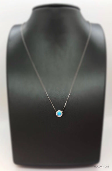 925 Sterling Silver Round Opal Necklace