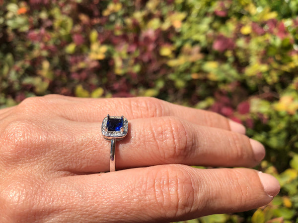 925 Sterling Silver 1 1/2 Carat Blue Sapphire & 1/5 Carat Diamond Halo Ring