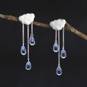 925 Sterling Silver Crystal White Cloud Dangle Earrings