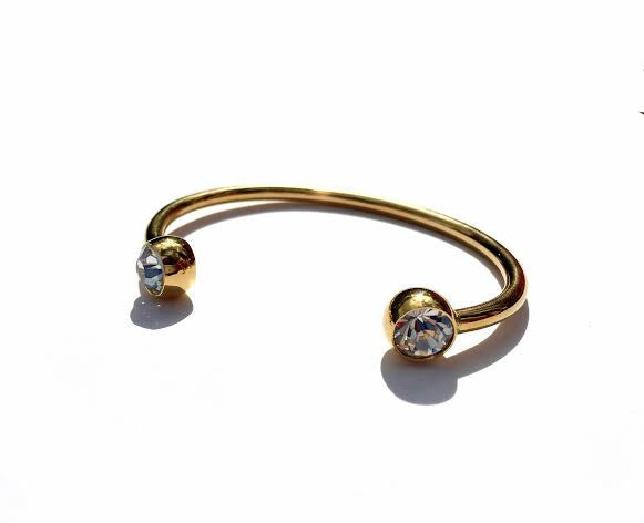 Two Diamond Cut Crystal Bangle