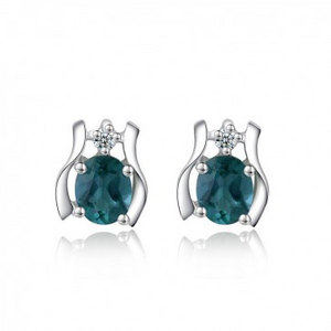 925 Sterling Silver Blue Sapphire Secret Garden Stud Earrings