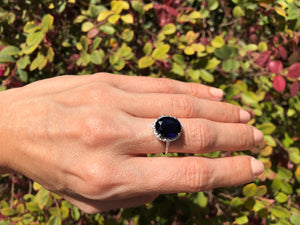 925 Sterling Silver 5 Carat Blue Sapphire & Genuine Diamond Ring