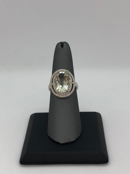 926 Sterling Silver 6 1/3 Carat Green Amethyst & Diamond Ring
