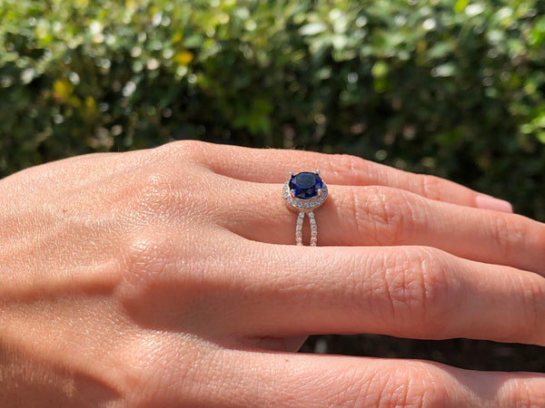 925 Sterling Silver 1 1/3 Carat Blue Sapphire & 2/5 Carat Diamond Halo Ring