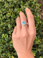 925 Sterling Silver 3 1/5 Carat Baby Swiss Blue Topaz & Diamond Ring