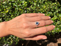 925 Sterling Silver Blue Sapphire Halo Ring