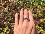925 Sterling Silver 1 3/4 Carat Garnets & Genuine Diamond Ring