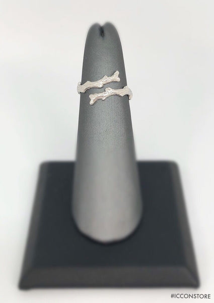 925 Sterling Silver Wood Simple Ring