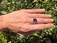 925 Sterling Silver 3 Carat Amethyst & 1/4 Carat & White Sapphire Ring