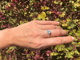 925 Sterling Silver 1 1/3 Carat Baby Swiss Blue Topaz 7 Diamond Ring