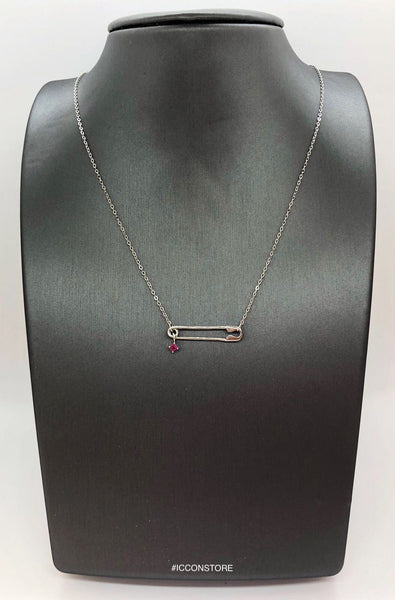 925 Sterling Silver Pin And Red CZ Necklace