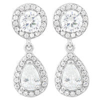 925 Sterling Silver 11 1/5 Carat Diamond Dangle Earrings