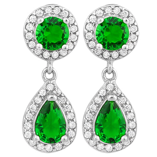925 Sterling Silver Emerald Dingle Earrings