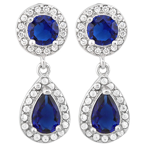 925 Sterling Silver Blue Sapphire Dangle Earrings