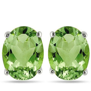 925 Sterling Silver 1.00 CT Genuine Peridot Stud Earrings