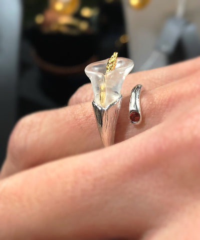 925 Sterling Silver Crystal Calla Ring