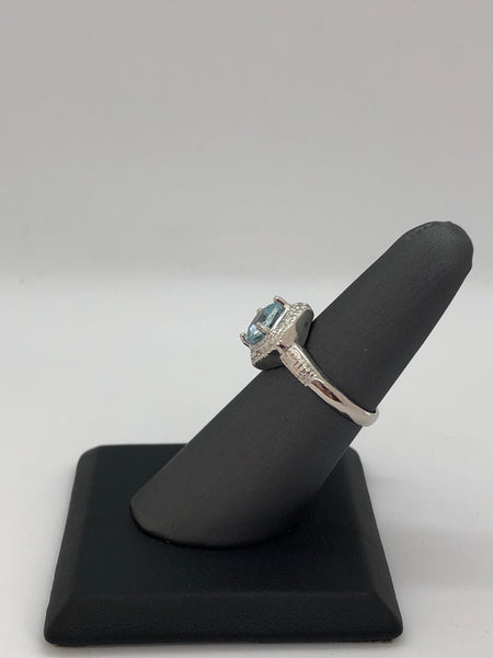 925 Sterling Silver 1.772 Carat Blue Topaz & Genuine Diamond Ring