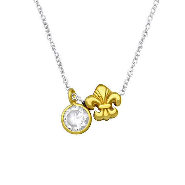 Silver Fleur De Lis Necklace with Cubic Zirconia