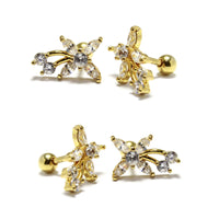 Gold Steel Flower CZ Studs