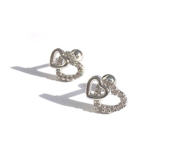 Stainless Steel Double Heart  Woman Stud