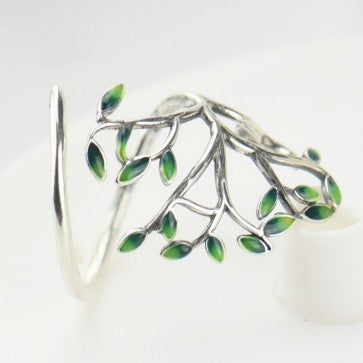 925 Sterling Silver Green Tree Ring