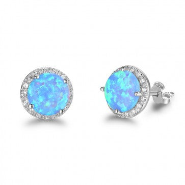 925 Sterling Silver Blue Opal Stud Earrings