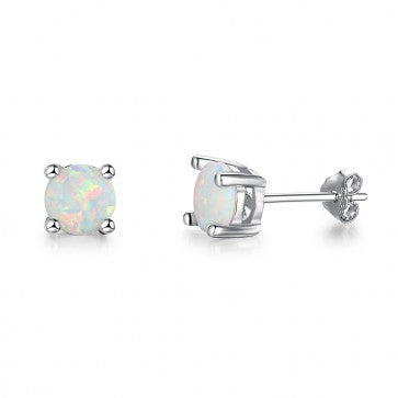 925 Sterling Silver Round  Opal Stud Earrings
