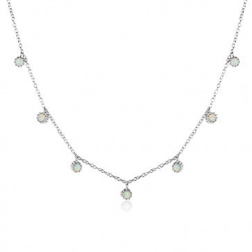 925 Sterling Silver Seven Opal  Necklace