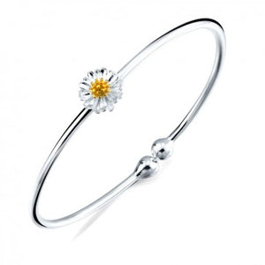 925 Sterling Silver Daisy Flower Adjustable Bangle