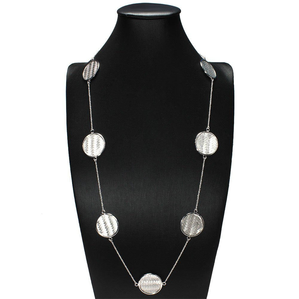 TRUE CRAVINGS COLLECTION MULTI CHARM STERLING SILVER CIRCLE NECKLACE