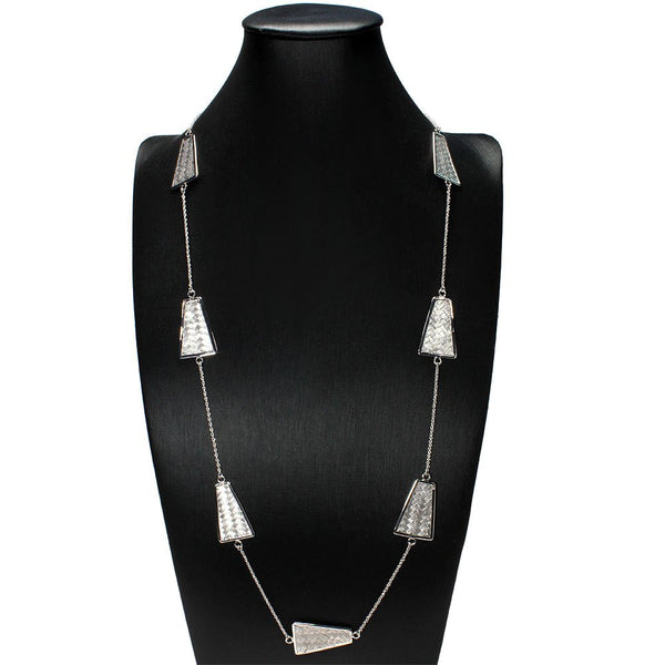 MULTI CHARM STERLING SILVER TRAPEZOID STATEMENT NECKLACE