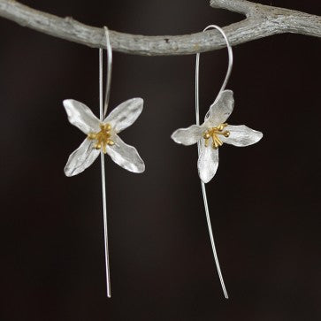 925 Sterling Silver Four Petal Flower Earrings