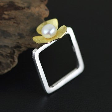 925 Sterling Silver Natural White Pearl Square Ring